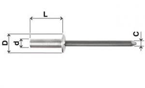 (LITUO) Aluminum Steel Blind Rivet (open end dome head)