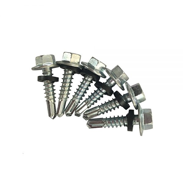 zinc plated hex head self drilling screw with washer