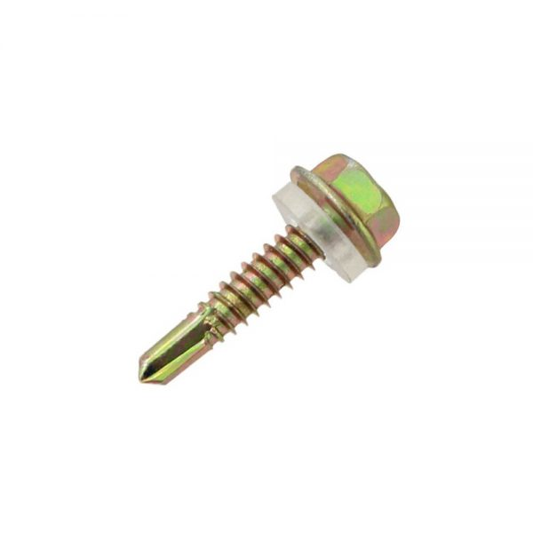 yellow zinc plated hex head self drilling screw with pvc washer