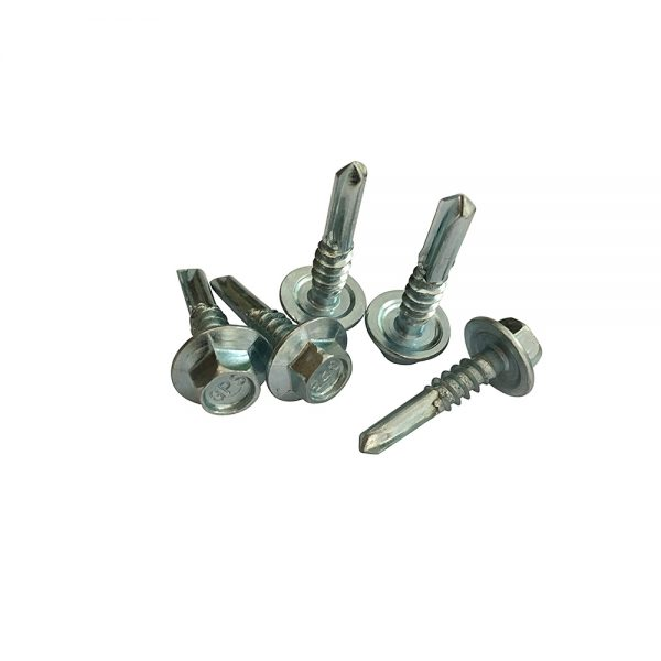 zinc plated hex head self drilling screw with long drill