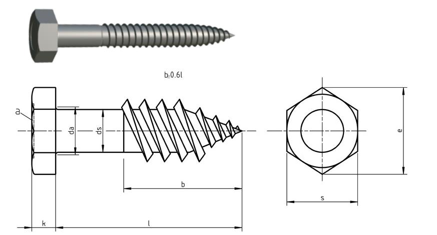 Hexagon head wood screws DIN 571